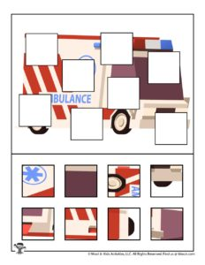 Ambulance Printable Missing Puzzle Pieces Activity
