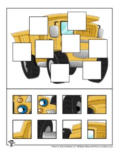 Transportation Puzzles for Kids Dump Truck