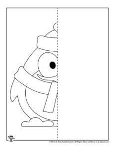 Winter Penguin Symmetry Drawing Worksheet