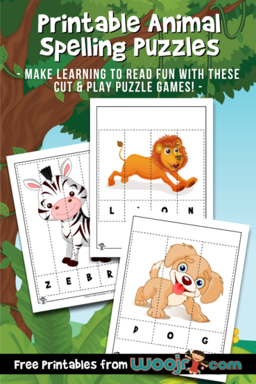 Printable Animal Spelling Puzzles