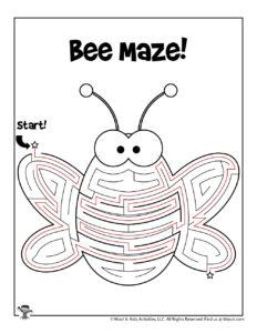 Bee Bug Maze Puzzle Worksheet - ANSWER KEY