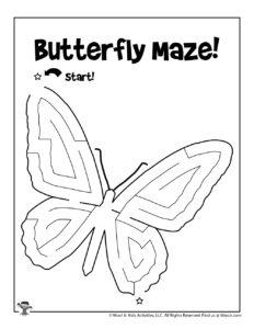 Butterfly Labyrinth Maze Kids Activity Sheet