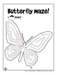 Butterfly Maze Kids Activity Sheet - KEY