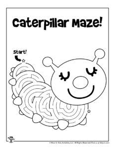 Caterpillar Maze Activity Sheet for Kids