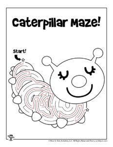 Caterpillar Maze to Print - ANSWER KEY