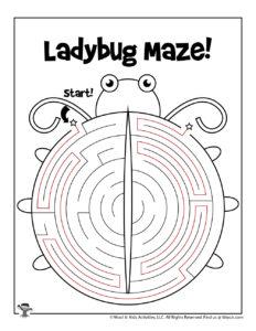Lady Bug Maze Worksheet for Kids - KEY