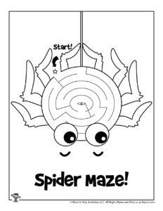 Spider Easy Maze Activity Worksheet