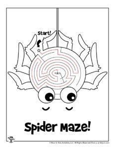 Spider Maze Activity Worksheet for Kids - KEY