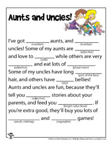 Aunts and Uncles Family Ad Libs Worksheet