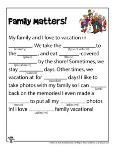Family Matters Parts of Speech Game