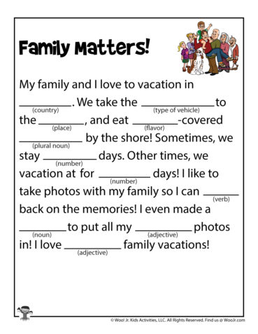Printable Family Funny Fill In Stories