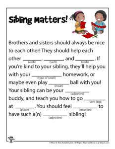 Siblings Word Puzzle Printable Game