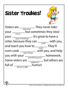 Sister Troubles Ad Lib Word Games