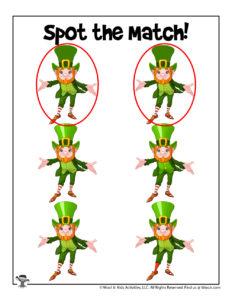 Leprechaun Spot the Match Game - ANSWER KEY