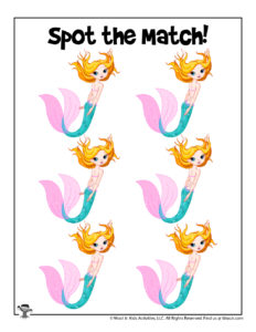 Mermaid Matching Printable Puzzle