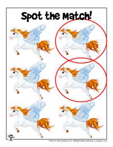 Pegasus Printable Matching Puzzle - KEY