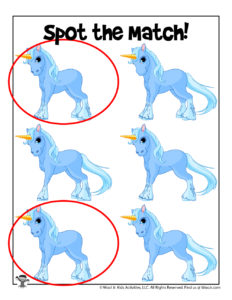 Unicorn Find the Difference Printable - KEY