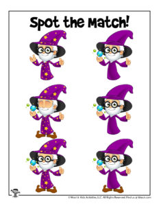 Find the Match Wizard Worksheet for Preschoolers
