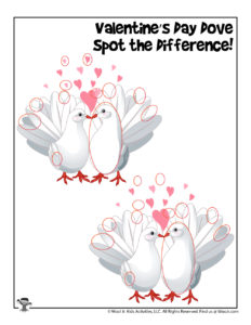 Valentine Love Birds Spot the Difference Puzzle - KEY