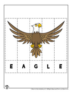 Eagle Animal Spelling Puzzle to Print