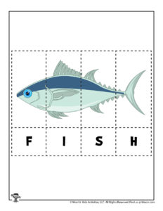 Fish Easy Spelling Puzzle for Preschoolers
