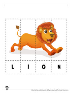 Free Printable Animal Word Puzzle for Kids