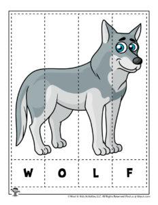 Animal Puzzle Spelling Worksheet for PreK