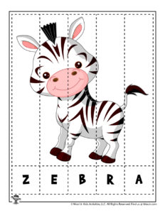 Z is for Zebra Spelling Puzzles for Kids