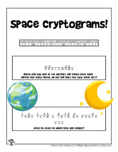 Space Cryptogram Word Puzzle for Kids