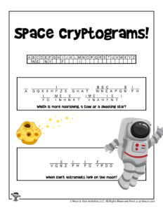 Secret Code Space Word Puzzles for Kids