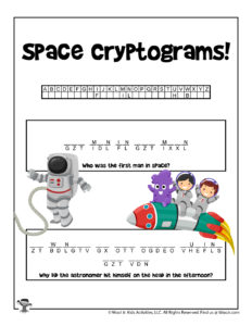 Space Cryptogram Decoding Word Puzzle