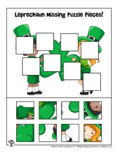 St. Patrick's Cut and Paste Puzzle Matching Activity