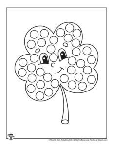 St. Patrick's Clover Free Printable Dot Coloring Page