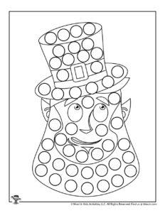 Leprechaun Dot Marker Free Coloring Page