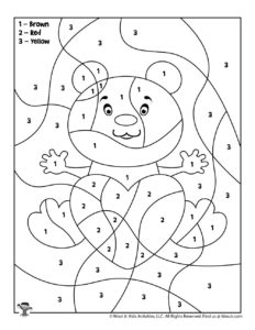 Bear Valentine Free Printable Color by Number