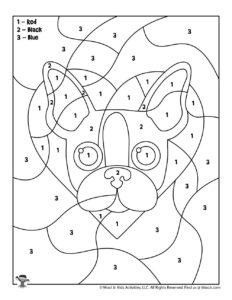 Valentine Color by Number Dog Printout for Kids
