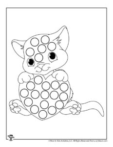Cat Dot Marker Free Coloring Page