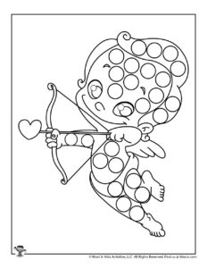 Cupid Free Printable Dot Coloring Page