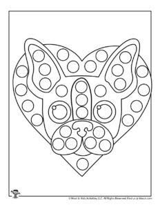 Dog Valentine Dot Marker Activity Page