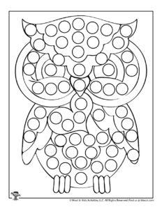 Owl Do a Dot Printable Coloring Page for Kids