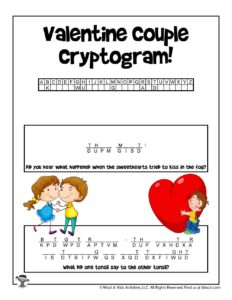 Printable Valentine Cryptogram Puzzle for Kids
