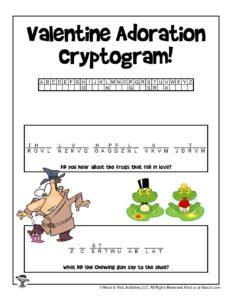 Valentine Cryptogram Decoding Word Puzzle