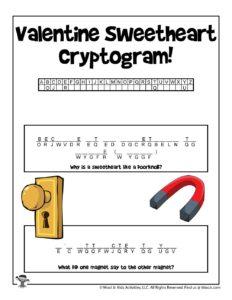 Secret Code Valentine Word Puzzle for Kids