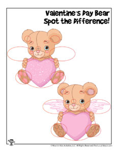 Valentine Teddy Bear Comparing Differences Game for Kids - KEY