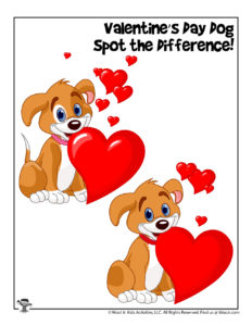 Valentine's Day Dog Find the Difference Printable Activity