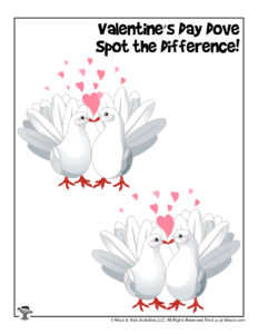 Valentine Doves Spot the Difference Activity Page