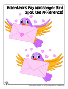 Spot the Difference Activity Page for Valentine's Day