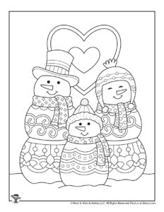 Cute Snowman Family Winter Coloring Page Set