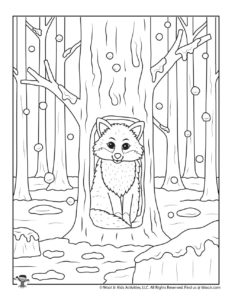 Winter Fox Adult Coloring Pages