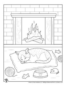 Cozy Cat Winter Coloring Page for Adults